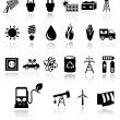 Vector black eco energy icons - Stok Vektör