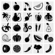Stock Vector: Fruit and Vegetables icon set