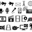 Stock Vector: Mediand Movie icons set.