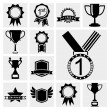Awards icons black set. — Stock Vector