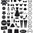 Stock Vector: Shopping icons set