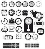 Horloges, icônes de temps définies — Vecteur