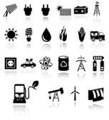 Vector black eco energy icons — Stock Vector