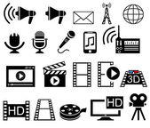 Media and Movie icons set. — Stock Vector