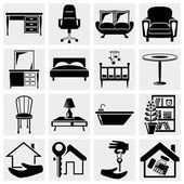 Furniture, houses icons set. — Stock Vector
