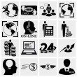 Human resources, Management, Money icons set. — Stock Vector