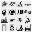 Stock Vector: Airport vector icons set. Elegant series icons and signs