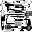 Hairdressing related symbol. Vector set of accessories for hair. - Image vectorielle