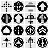 Pijl teken pictogramserie. eenvoudige cirkel internet vormknop op grijze achtergrond. — Stockvector