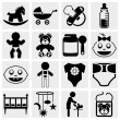 Baby and newborn vector icon set - Stock Vector