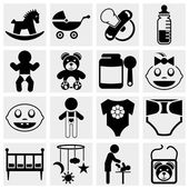Baby and newborn vector icon set — Stock Vector