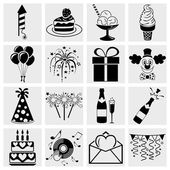 Birthday Celebration and Party - icons set — Stock Vector