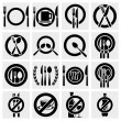 Icon vector illustrations of fork, knife and spoon arranged in different ways. Vector icon set. No Sign. - Stock Vector