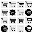 Collection of vector shopping cart vector icons set. — Stock Vector