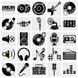 Stock Vector: Vector black music icons set on gray