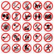 No Stop Sign. No smoking, No Dog or Pets.Set Prohibited Signs. Big set of useful and unusual prohibited signs - Stock Vector