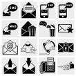 Envelope, communication, plane, shopping, mobile sms text message and other icons for e-mail - Stock Vector