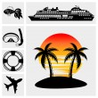 Vacation, Travel & Recreation. Island icons  — Stock Vector
