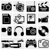 Multimedia icons: photo, video, music vector set — Stock Vector