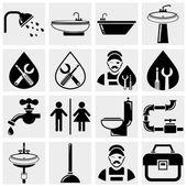 Plumbing and bathroom vector icons set — Stock Vector