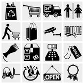 Shopping, supermarket services set of icons — Vector de stock