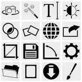 Camera Display Screen symbols and Photography vector icons set — Stock Vector