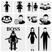 Man & Woman vector sign. Human resources and management icons set. — Stock Vector