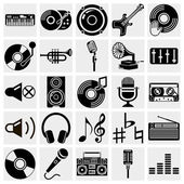 Vector black music icons set on gray — Stock Vector