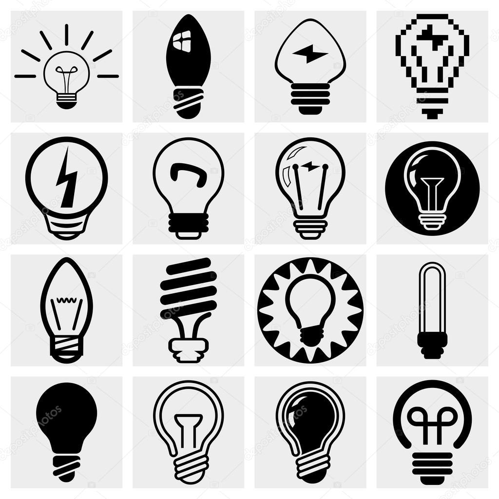 Raccolta di icone vettoriali lampadina impostare grigio background.eps ...