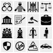 Human, legal, law and justice icon set. — Stock Vector