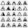Symbols warning hazard. Vector icon set. — Stockvector