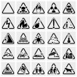 Symbols warning hazard. Vector icon set. — Vecteur