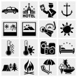 Signs. Tourism. Travel. Sports. Vector icon set. - Stok Vektör