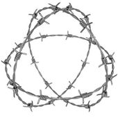 Three rotating circle of barbed wire — Stock Photo