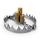 Golden coins on bear trap — Stock Photo