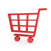 Red shopping cart — Stock Photo