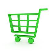 Green shopping cart — Stock Photo