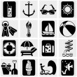 Travel and tourism,  summer vector icons set on gray. — Stock Vector