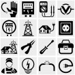 Electricity vector icons set on gray. — Stock Vector