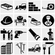 Construction vector icon set on gray — Stock Vector