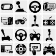 Stock Vector: Video game vector icon set on gray