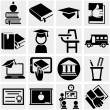 Education vector icon set on gray — Stock Vector