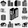 Buildings vector icon set on gray — Stock Vector