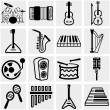 Music vector icon set on gray — Stock Vector