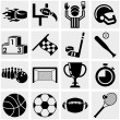 Stock Vector: Sports vector icons set on gray.