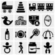 Baby vector icons set.  — Stock Vector