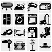 A vector collection of home appliances icons set on gray — Stock Vector
