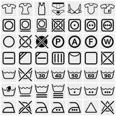 Washing symbols (Washing instruction symbols, bleaching and Ironing instruction, Dry clean icon) vector icon set on gray — Stock Vector