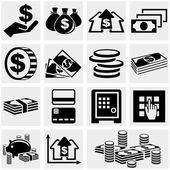 Bancari, denaro e moneta vector set icone. — Vettoriale Stock