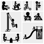 Children Playing vector icon set. — Stock Vector